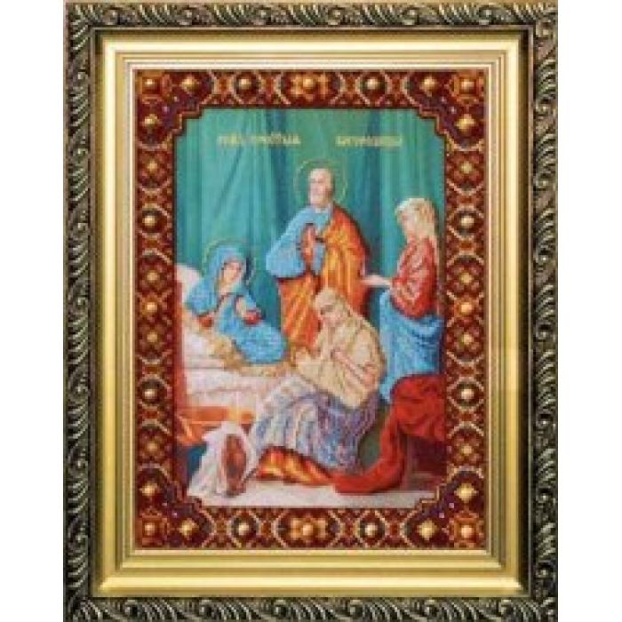 Набор для вышивания бисером ЧАРИВНА МИТЬ арт.Б-1052 Рождество Пресвятой Богородицы 26,8х27 см