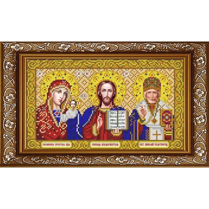 Рисунок на габардине СЛАВЯНОЧКА арт. ИС-4059 Триптих в золоте 20х25 см