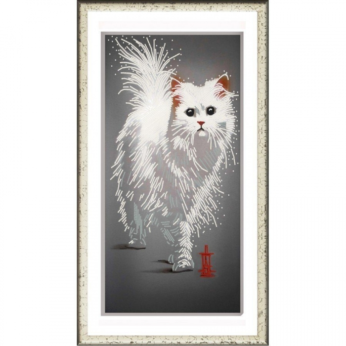 Рисунок на ткани (Бисер) КОНЁК арт. 8498 Кот Снежок 25х45 см