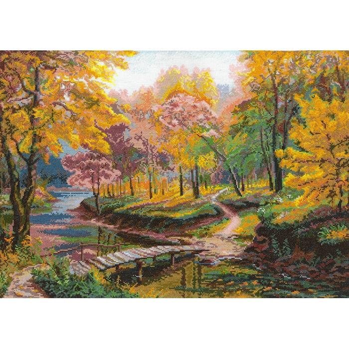 Набор для вышивания мулине НИТЕКС арт.0005 Осенняя прогулка 56х42 см