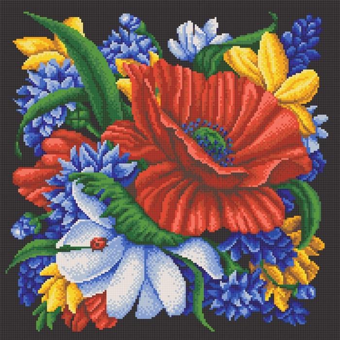 Рисунок на канве КОНЁК арт.7808 Цветы 40х40см
