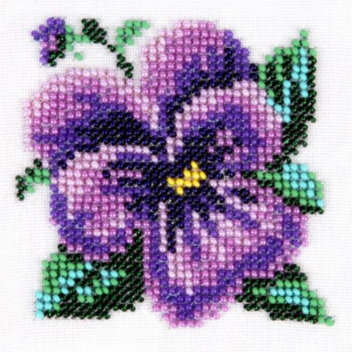 Набор для вышивания бисером LOUISE арт. L439 Анютины глазки 11х11 см