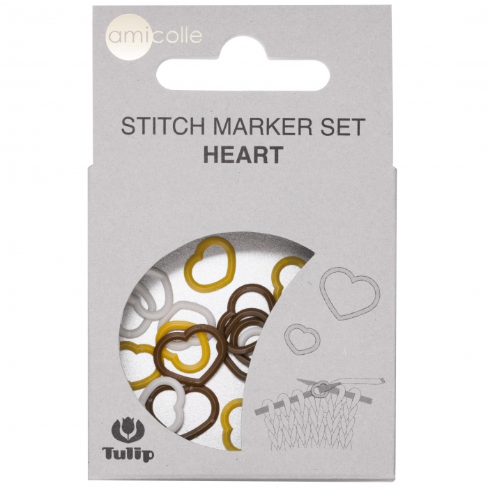 Tulip Набор маркеров для вязания Amicolle, сердце 3,25х4,5мм, арт.AC-018E пластик, цв.желтый, белый, коричневый по 5шт