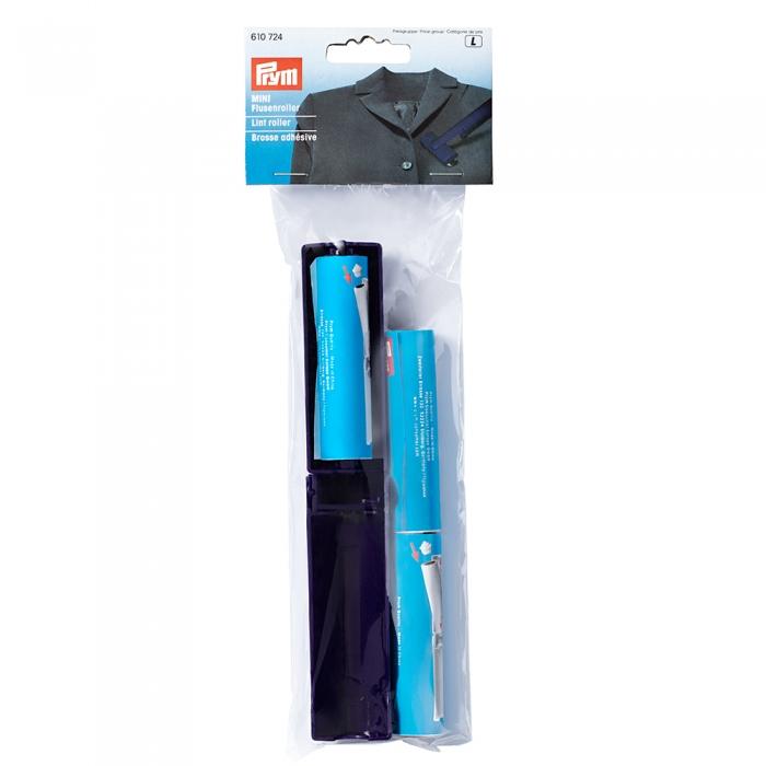 610724 PRYM Ролик (многоразовый) для удаления ворсинок MINI (пластик, липкая лента), белый/т.синий
