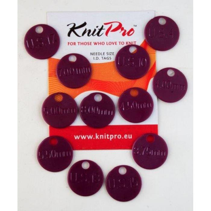 10702 Knit Pro Метки для спиц (4мм, 5мм, 6мм, 8,75мм, 10мм, 12мм по 2шт), пластик, т.розовый