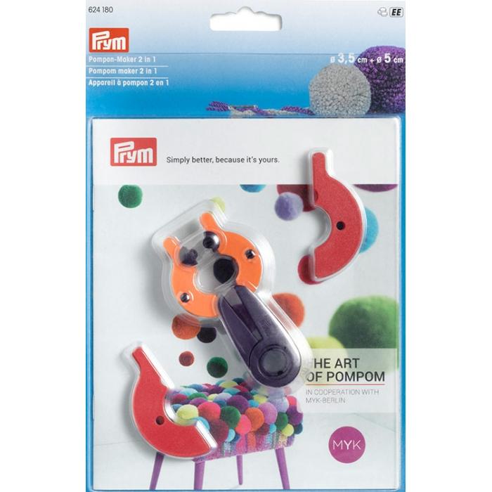 624180 PRYM Устройство для изготовления помпонов 2 в 1, размер S, пластик, многоцветный