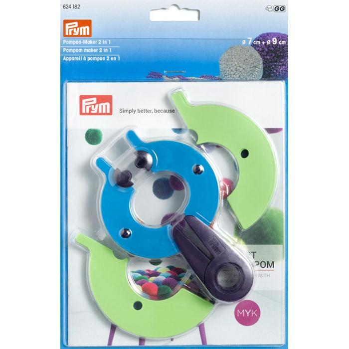 624182 PRYM Устройство для изготовления помпонов 2 в 1, размер L, пластик, многоцветный