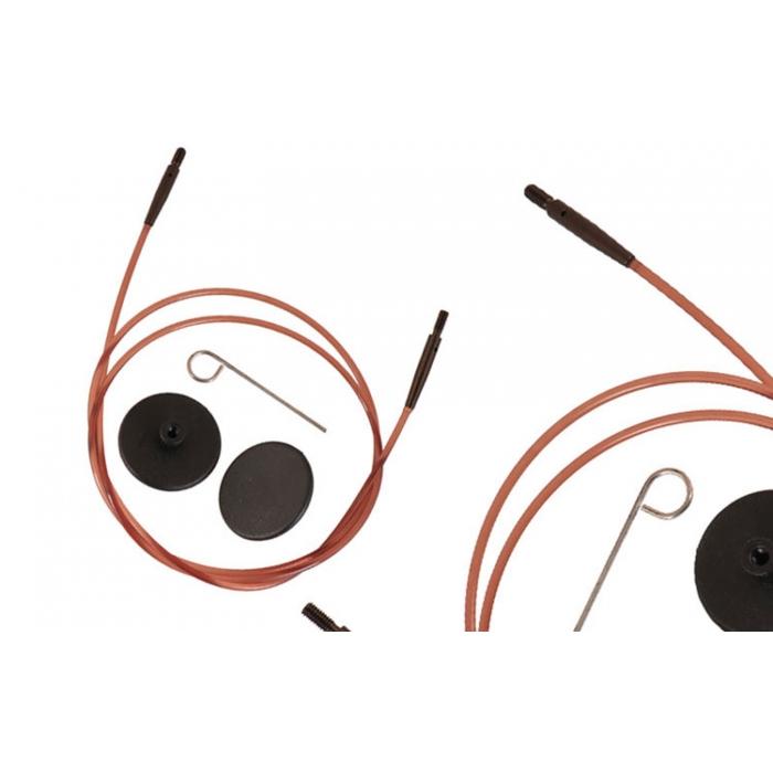 31296 Knit Pro Тросик (заглушки 2шт, ключик) для съемных спиц Ginger, длина 94см (готовая длина спиц 120см), коричневый