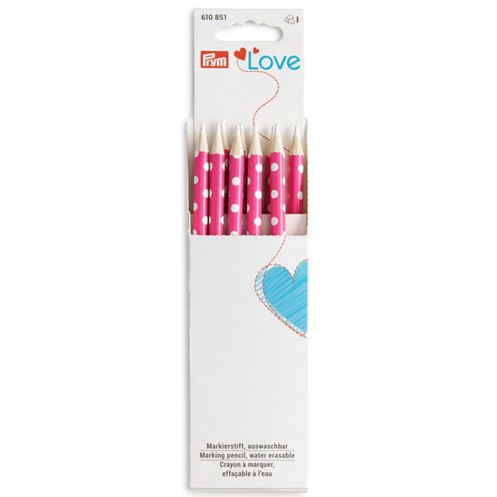 610851 PRYM Love Маркировочный карандаш, следы удаляются при помощи воды, белая маркировка, ярко-розовый