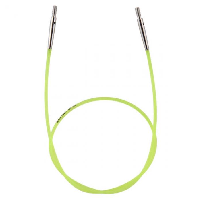 10633 Knit Pro Тросик (заглушки 2шт, ключик) для съемных спиц, длина 35см (готовая длина спиц 60см), зеленый