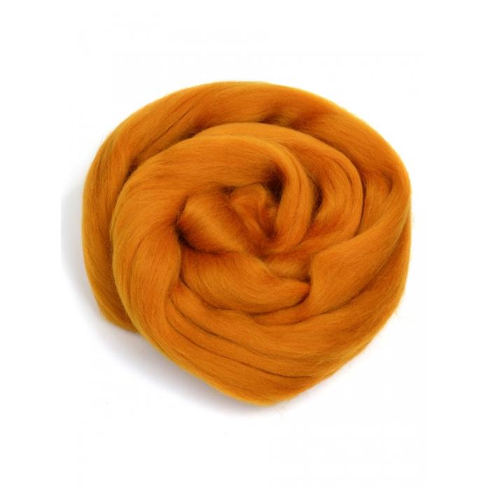 Шерсть для валяния ПЕХОРКА полутонкая шерсть (100%шерсть) 50г цв.447 горчица