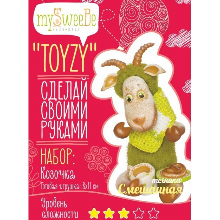 Набор для изготовления текстильной игрушки Toyzy арт.TZ-M001 Коза Смешанный