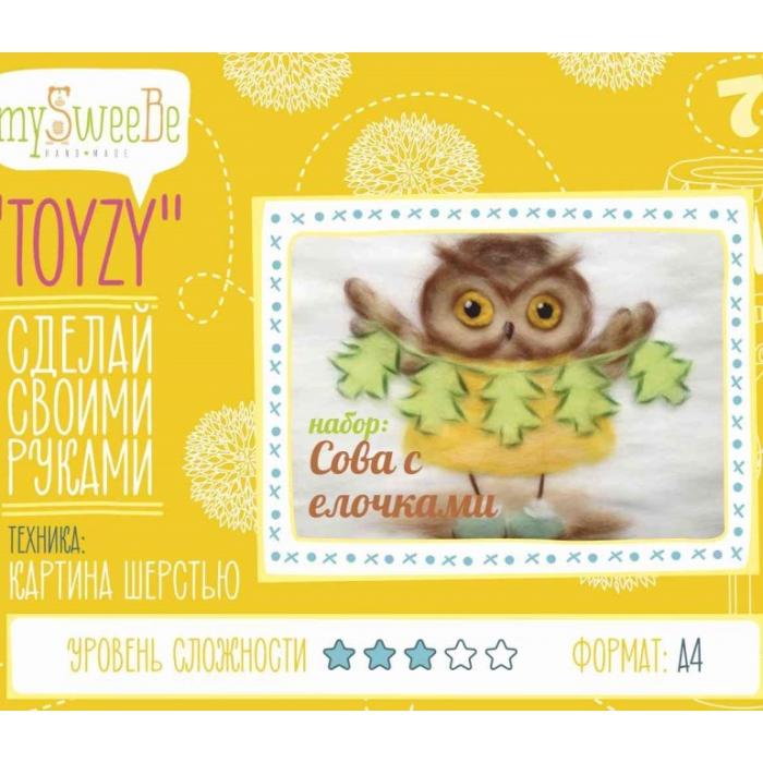 Набор для изготовления картины шерстью Toyzy арт.TZ-P029 Сова с елочками А4