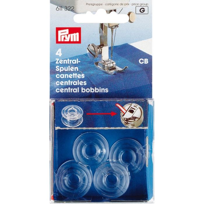 611322 PRYM Пластиковые шпульки, СВ, д/шпульного колпачка со штифтом, 4шт в блист