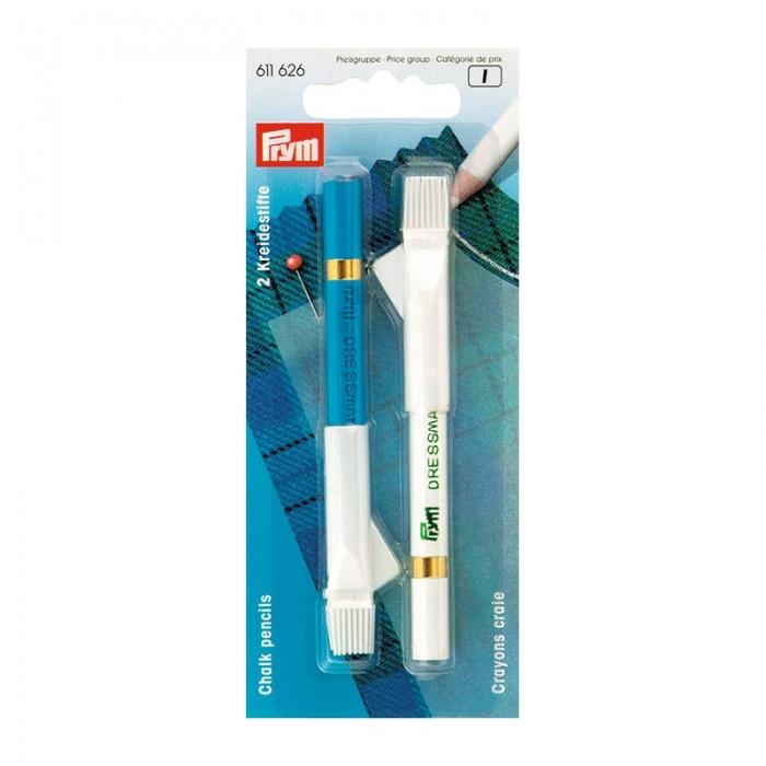 611626 PRYM Меловой карандаш со стирающей кисточкой 11см цв. белый/синий уп.2шт