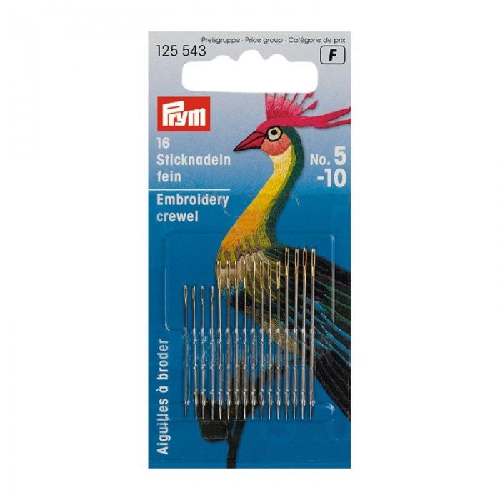 125543 PRYM Иглы ручные д/вышивки .шитья с большим ушком тонкие №5-10 уп.16шт