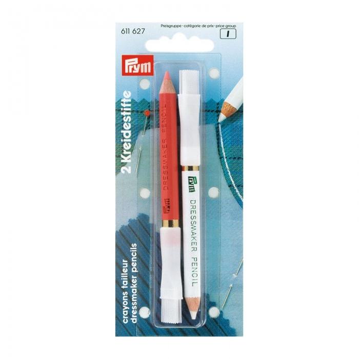 611627 PRYM Меловой карандаш со стирающей кисточкой 11см цв. белый/розовый уп.2шт