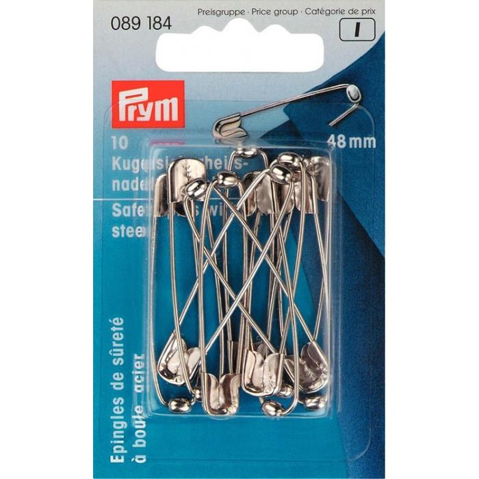 89184 PRYM Булавки английские, сталь с защитой от ржавчины, с шариком, 48мм, серебристый уп.10шт