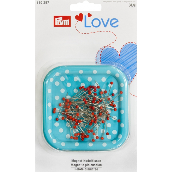 610287 PRYM Love Магнитная игольница с наполнением (9г булавок 0,6х30мм с цветными головками), пластик/железо
