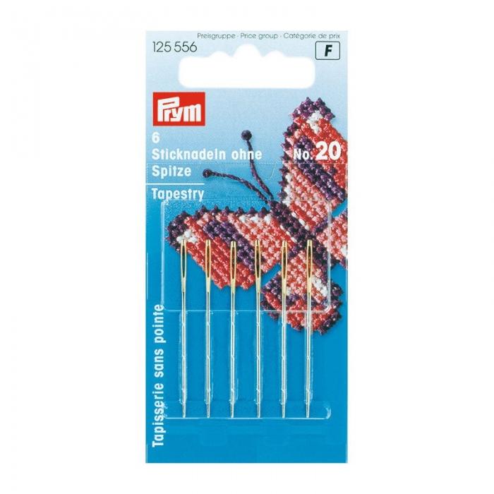 125556 PRYM Иглы ручные д/вышивки со скругленным острием №20 уп.6шт