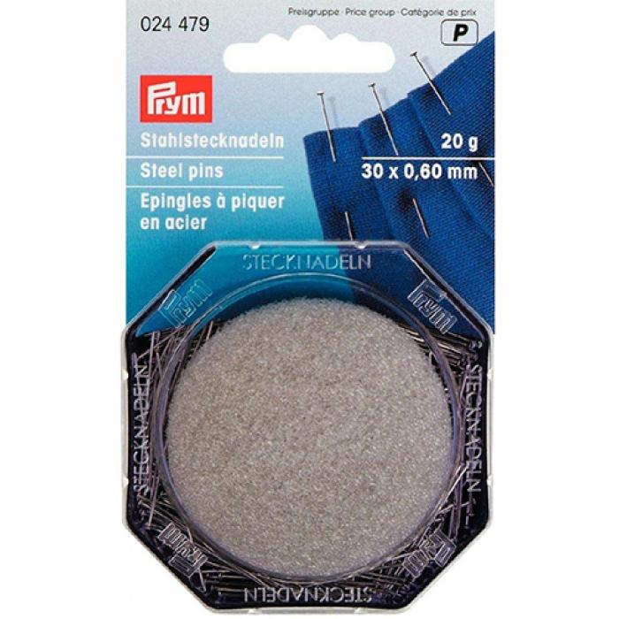 24479 PRYM Булавки (сталь) особо тонкие, серебристые 0,60 x 30 мм с игольницей 6шт