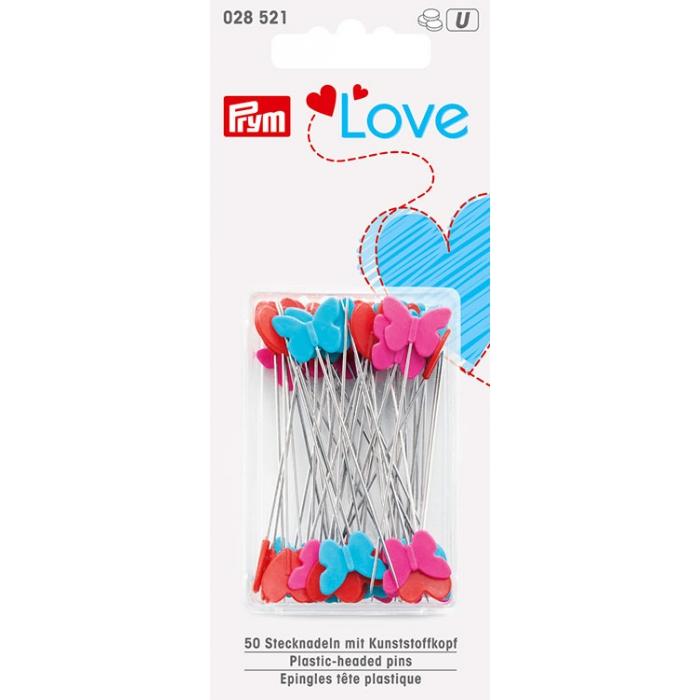 028521 PRYM Prym Love - Булавки с пластиковыми головками 50х0,60мм, нержавеющая сталь/пластик, голубой, красный, ярко-розовый уп. 50 шт.