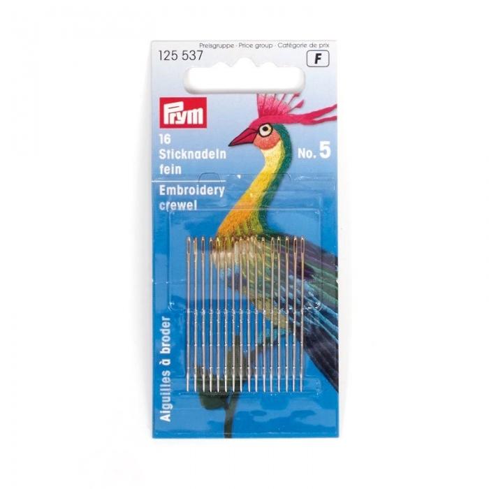 125537 PRYM Иглы ручные д/вышивки .шитья с большим ушком тонкие №5 уп.16шт