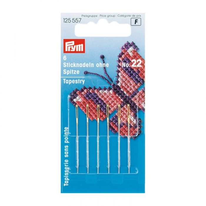125557 PRYM Иглы ручные д/вышивки со скругленным острием №22 уп.6шт