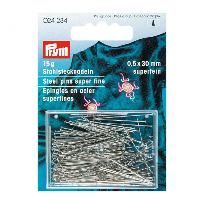 24284 PRYM Булавки 30х0,50мм закаленная сталь с защитой от ржавчины цв. серебро уп.15г