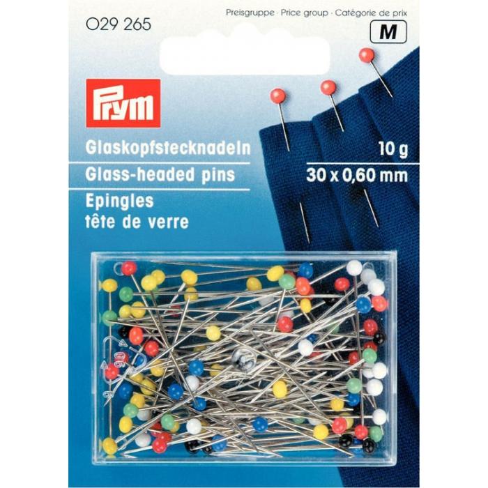 29265 PRYM Булавки со стеклянными головками, цветные, термоуст. закаленные для шитья 30х0,60мм уп.10г