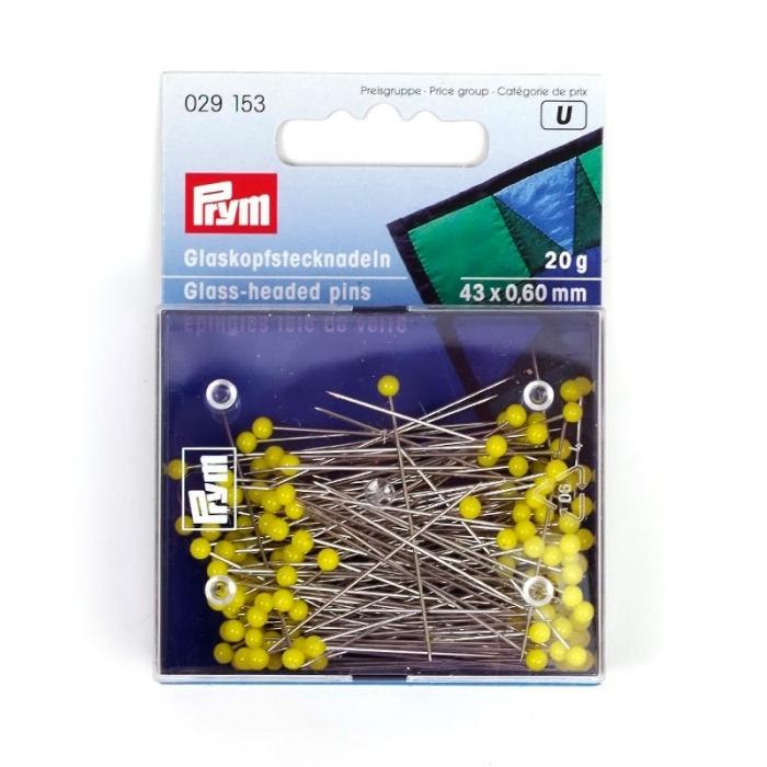 29153 PRYM Булавки со стеклянными головками, желтые, термоуст. закаленные для шитья 43х0,60мм уп.20г