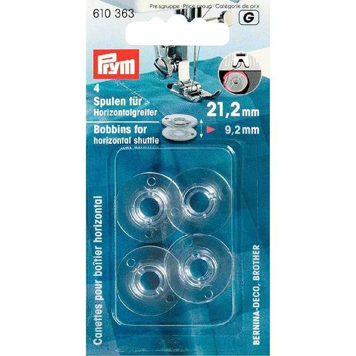 610363 PRYM Шпульки (пластик) для горизонтально вращающегося челнока 21, 2 мм, прозрачные