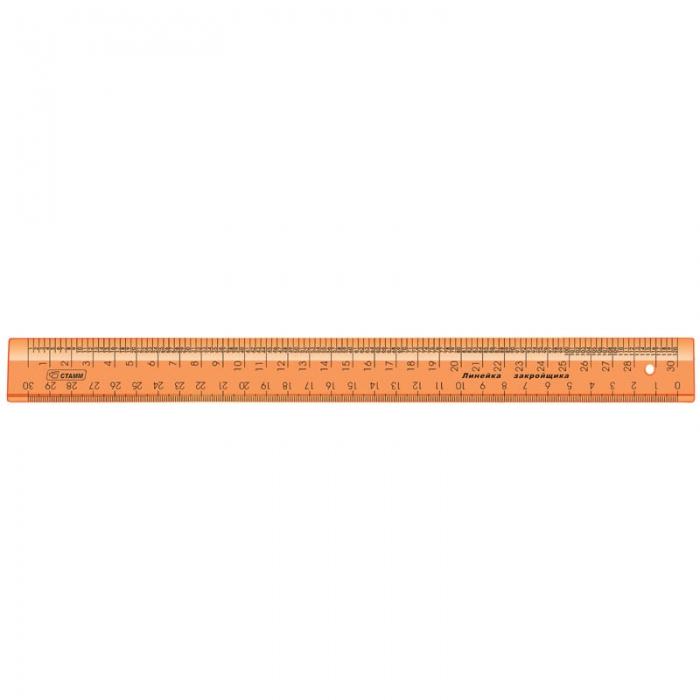 Линейка закройщика 30см Стамм Neon Crystal, оранжевая