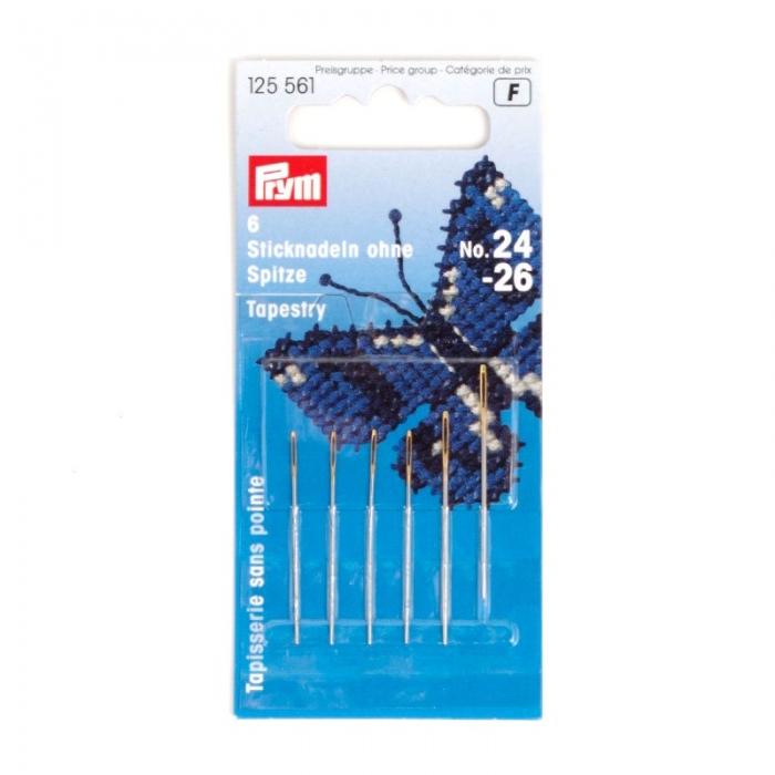 125561 PRYM Иглы ручные д/вышивки со скругленным острием №24-26 уп.6шт