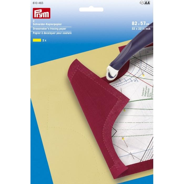 610463 PRYM Копировальная бумага , вощеная 82х57 см цв.желтый уп. 2шт.