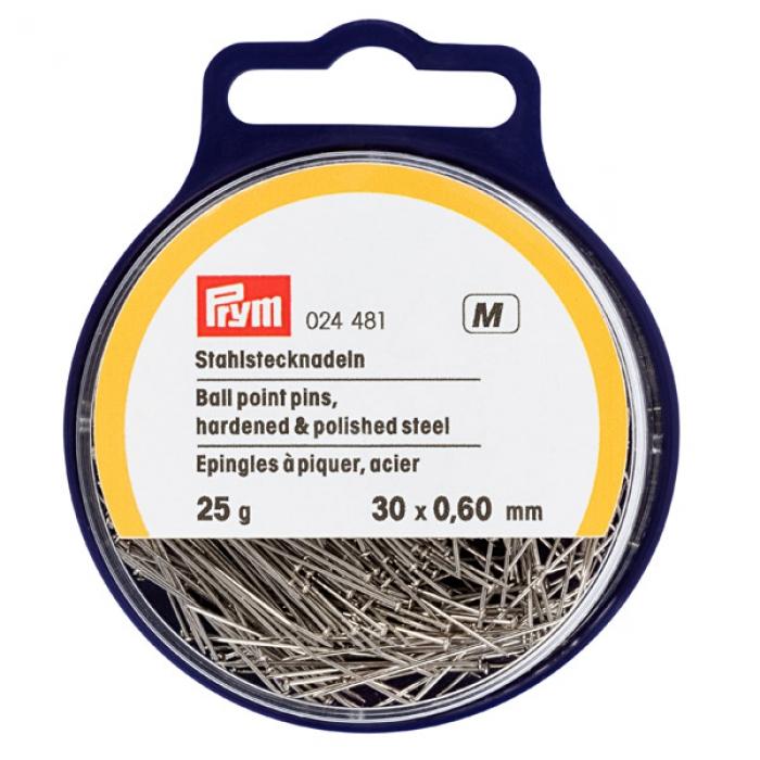 24481 PRYM Булавки со скругленным острием 30х0,60мм, закаленная сталь с защитой от ржавчины уп. 25гр