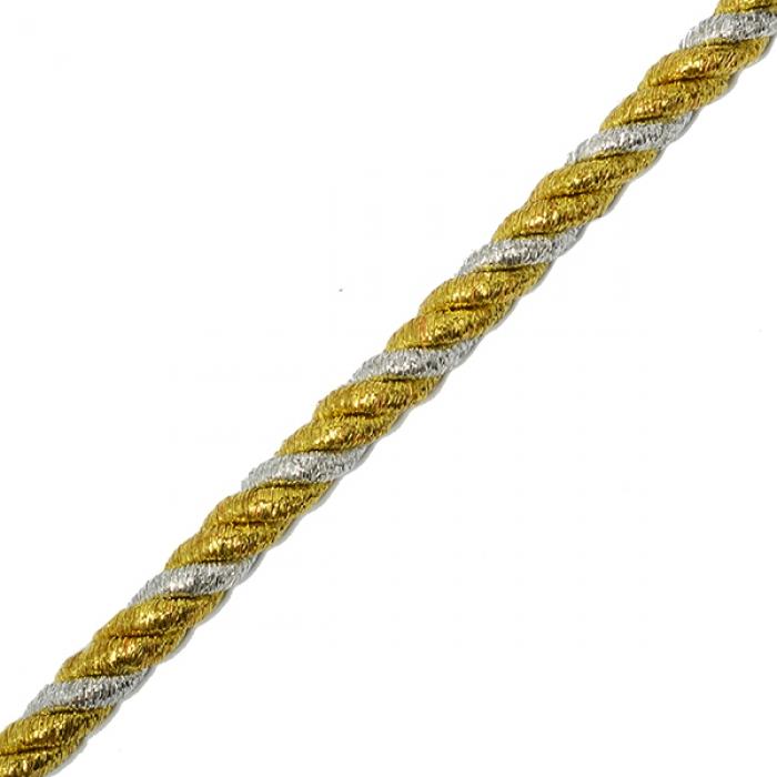 Шнур витой мебельный арт.SHDV033 8мм уп.10м серебро/золото