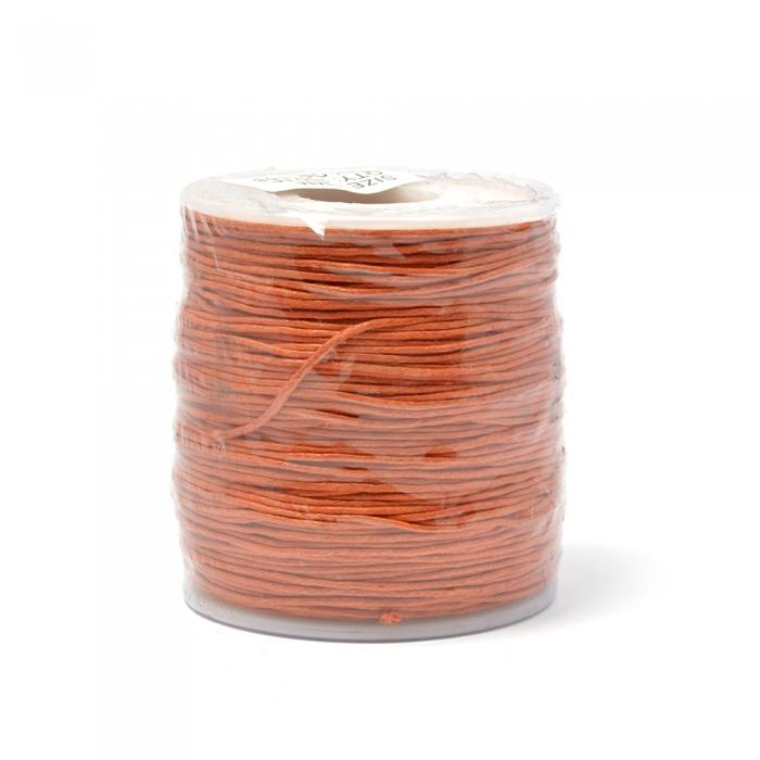Шнур вощеный 1мм, 100% хлопок цв. 158 оранжевый уп.100м