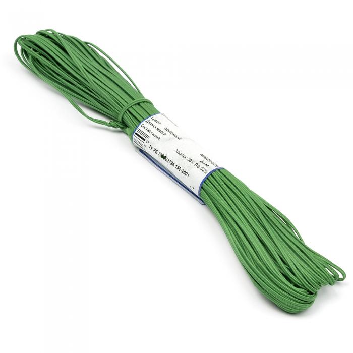 """Шнур отделочный 1с14 """"Сутаж"""" 2,5-3мм цв.зеленый уп.20м"""