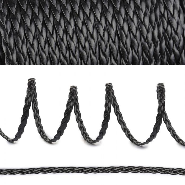 Шнур плоский матовый (иск.кожа) TBY.LTRM05.1 05мм цв.черный уп.50м