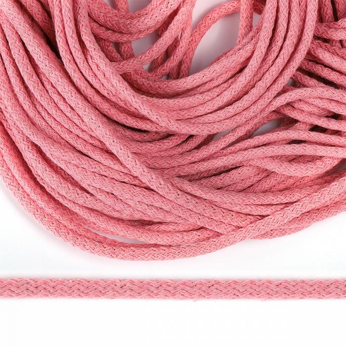 Шнур круглый х/б 05мм с наполнителем цв.010 розовый уп.25 м
