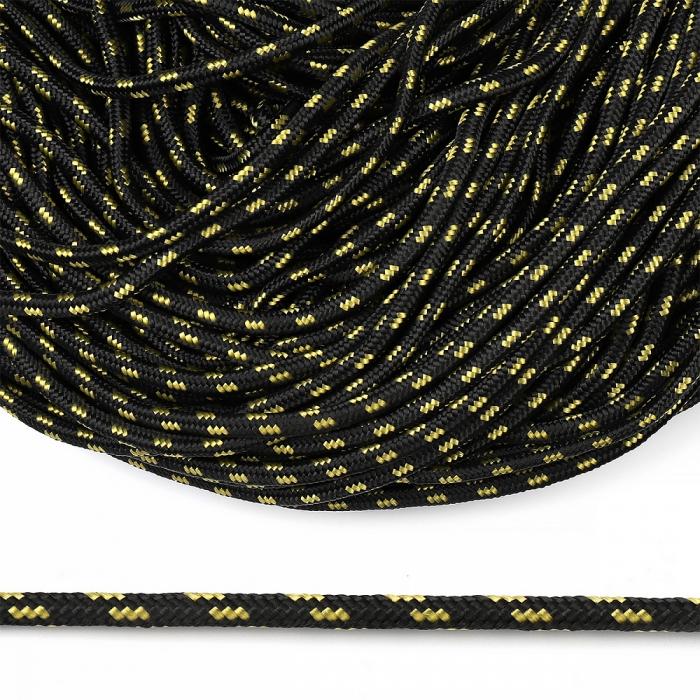 Шнур круглый полипропилен 05мм арт. 1с-5 плетёный цв.черно/желтый уп.100м