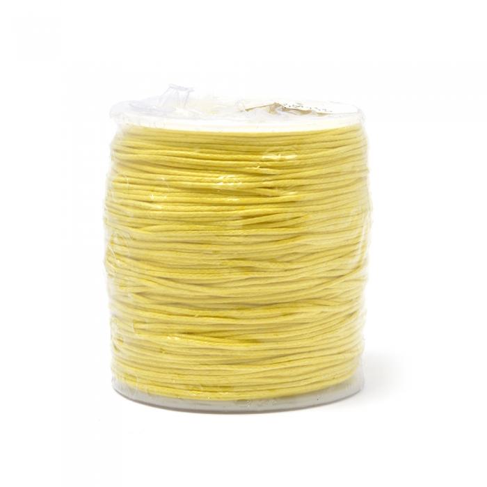 Шнур вощеный 2мм, 100% хлопок цв. 110 желтый уп.100м