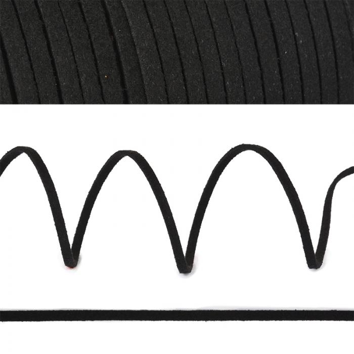 Шнур/тесьма (иск.замша) TBY.SLR322 2-3мм цв.черный F322 уп.50м