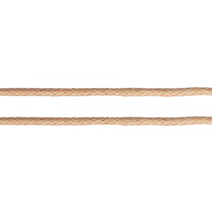 Шнур вощеный 2мм, 100% хлопок цв. 136 персик уп.100м