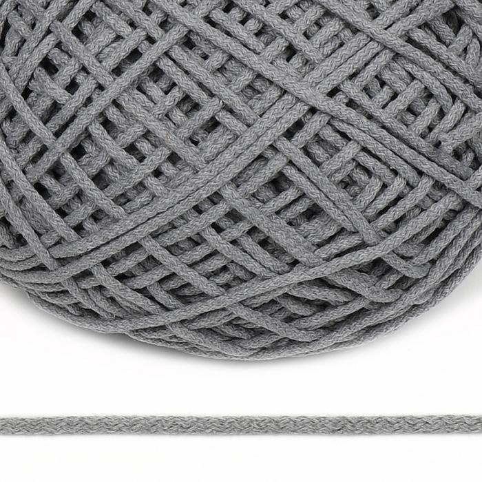 Шнур для макраме круглый х/б 06мм 60184/200 цв.св.серый уп.200м