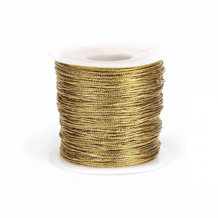 Шнур декоративный металлизированный арт.TBY.SHDM0102 1мм цв.золото уп.100м