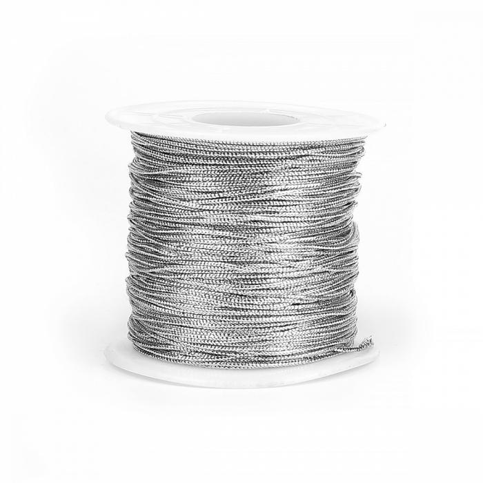 Шнур декоративный металлизированный арт.TBY.SHDM0101 1мм цв.серебро уп.100м