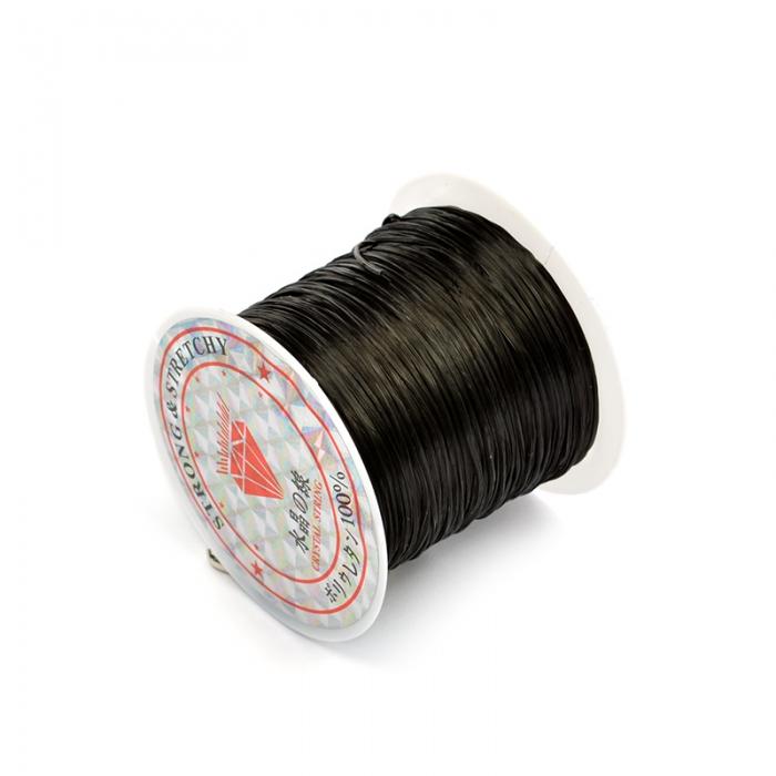 Нить-резинка плоская без оплетки 0,8мм 30м цв.черный