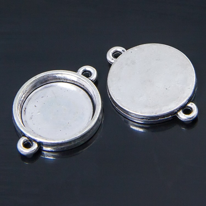 Коннектор-Сеттинг кругл под кабашон МБ.УТ1-7482 цв.анитчное серебро 26х19х3,5мм 5шт